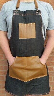 Denim apron with adjustable neck and waist straps