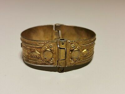 Antique Medieval Ladies Hand Made Gold Plated Low Sample Silver Bracelet
