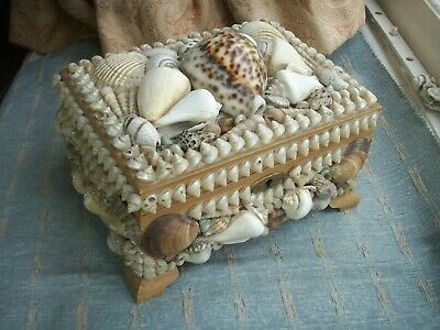 Old Vintage Wooden Shell Decorated Jewel  Trinket Box Grotto Jewellery Box fine