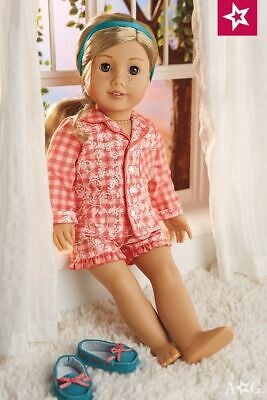 American Girl Doll TENNEY'S GINGHAM PAJAMAS pjs slippers outfit TENNEY blaire