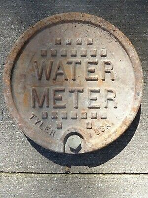 "Heavy 12"" Antique Water Meter Main Cover Cast Iron Tyler Industrial"