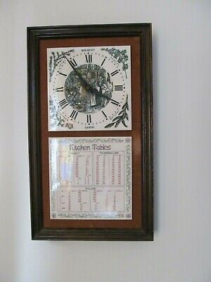 Vintage hand painted tiles Wall Clock with wooden frame good in  rustic kitchen