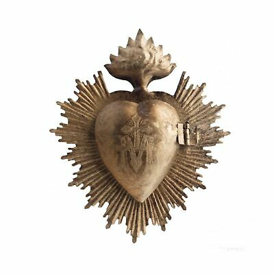 Sacred Heart, Metal Heart Milagro, Gold Heart Box, Ex Voto NEW