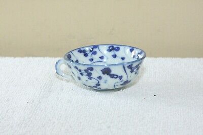 Antique Chinese Cobalt Blue & White Porcelain Small Teacup with handle No Mark