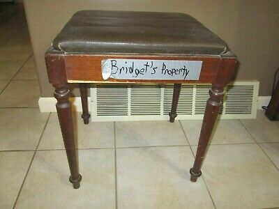 Vintage Sewing Bench  Wood Lift Off Seat Brown Faux Leather Stool