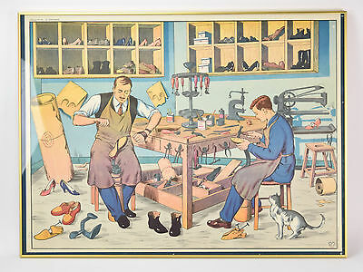 Vintage 1950's French Occupational Poster Shoemakers Cobblers