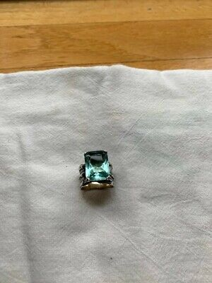 Silpada Aqua Glass Sterling Silver Sz 6.5 Stunning Cocktail Ring R1608 Wide Band