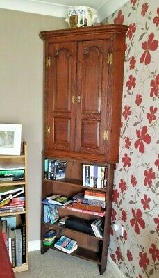 Antique Georgian Hand Carved Solid Oak Corner Wall Unit and Solid Oak Bookcase