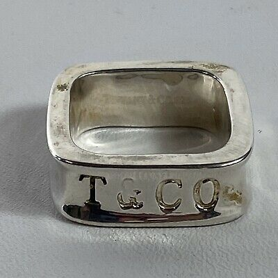 Vintage Tiffany & Co 1837 Sterling Silver Square Wide Band Ring Size 5.5 HTF
