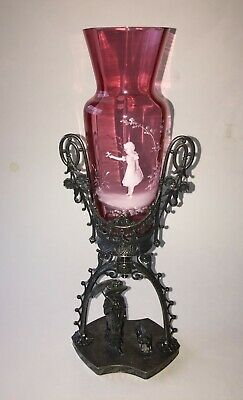 Victorian James W Tufts Kate Greenaway Stand Mary Gregory Cranberry Glass Vase