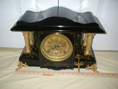 Professionally Restored Antique Seth Thomas Black Mantel Clock Shasta model Runs