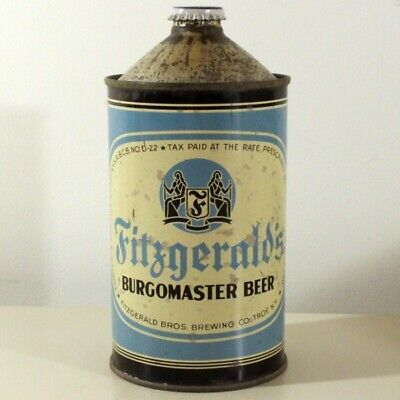 Fitzgerald's Brewing Burgomaster Beer Quart Cone Top Can Troy New York -RARE-