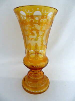 Bohemian Amber Crystal Vase ~ Etched & Cut To Clear ~ Excellent