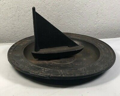 RARE Antique Sundial Garden Sailboat Cast Iron Metal Art Lumen Me Recit