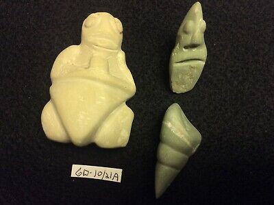 GD-10/21A Pre-Columbian Southern Arawak Lot of 3 Grenadaite Statues 300bc-600ad