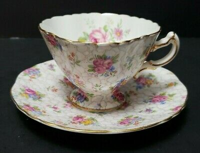 Hammersley  Footed Demitasse Cup And Saucer Floral And Chintz Pattern