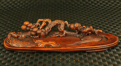 chinese old boxwood hand carved tree duck statue waterscape table decoration