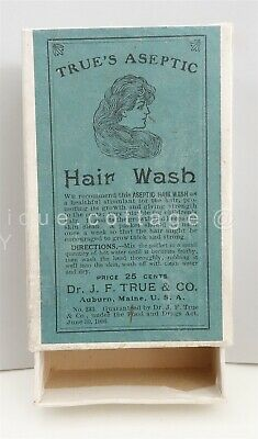 antique TRUE'S ASEPTIC HAIR WASH BOX only BARBER CHILDREN STYLIST auburn me