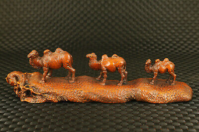 Chinese old boxwood hand carved three walk camel statue collectable noble gift