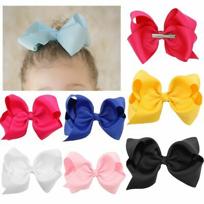 Girls Solid Color Baby Hair Clip Boutique Hairpin Big Bow-knot Ribbon