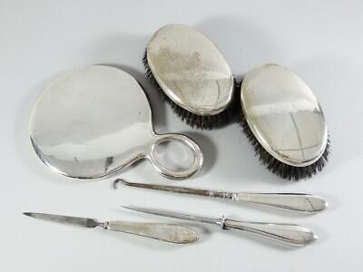 Mirror + Two Brushes + Accessories Sterling Silver Vanity Set by William Kerr