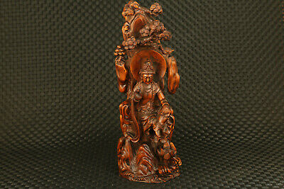 Chinese old boxwood hand carved Guanyin under tree sit statue noble gift