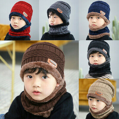 Fashion Child Kids Boys Girls Fleece Contrast Colors Knitted Warm Winter Hats