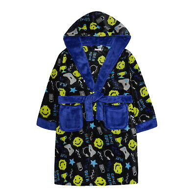 Boys Gamer Gaming Controller Robe Hooded Fleece Dressing Gown Kids Bathrobe Gift
