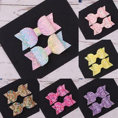 2PCS Glitter Bow Hair Clips Alligator Hairpins Barrettes Girls Accessories 2019N