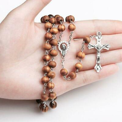 Handmade Round Bead Catholic Rosary Cross Religious Wood Beads Gift Necklace