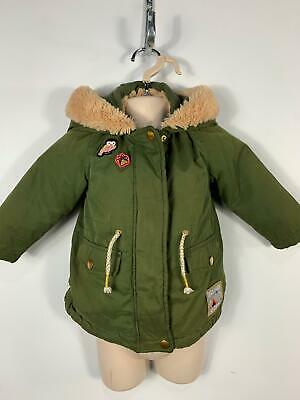 Girls M&S Khaki Green Parka Fur Hood Coat Winter Zip Jacket Kids Age 1/1.5 Years