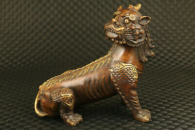Asian old copper hand carving unicorn kirin statue noble table decoration