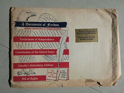 Documents of Freedom 1956 American USA Bill of Rights, Lincoln's Gettysburg, etc