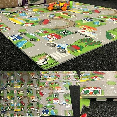 4pcs Interlocking Soft EVA Foam Floor Mat City Puzzle Kids Play Road Map 16Sq