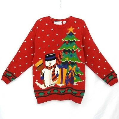 Jennifer Moore Hand knitted Snowman Christmas Pull Over Ugly Sweater Womens Sz L