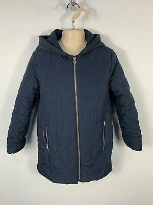 Girls Zara Navy Blue Diamond Quilted Zip Up Winter Coat Jacket Age 7/8 Years