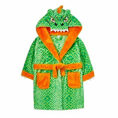 Boys Novelty 3D Dinosaur Robe Hooded Fleece Dressing Gown Kids Dress Up Bathrobe