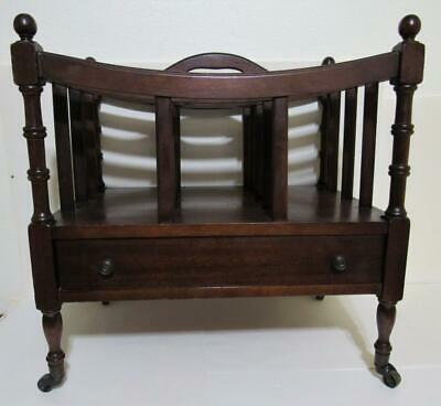 Antique Solid Genuine Mahogany Wood Canterbury Magazine Rack with Drawer