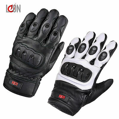 Men's Waterproof Thermal Winter Knuckle Motorcycle Motorbike Leather Gloves