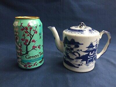 "Antique Chinese Export Blue & White Canton Teapot Small 4 1/4"" Tall"