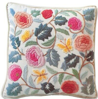 PASTEL COLONIAL PILLOW Vintage Crewel Embroidery Kit Columbia Minerva 1977
