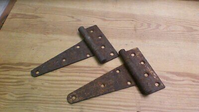 "Two Vintage Steel T STRAP BARN SHED DOOR 7 5/8"" HINGES"