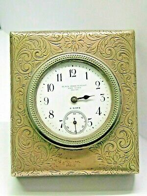 Antique Sterling silver Black Starr & Frost New York Swiss travel clock