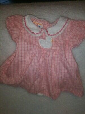 Vintage Percalle Rosso & Bianco One Piece Tutina Duckie Bambini Taglie 6-9 M?