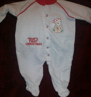 Vintage Babygro Baby's First Christmas One Piece Baby Toddler Sleeper Pajamas L