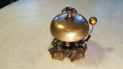 Antique Victorian Desk Bell Very Ornate Cast Brass or Bronze - Works Great