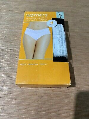 Warner's The Lace Hipster Panties No Pinching No Problem Multi-Colored XL Size 8