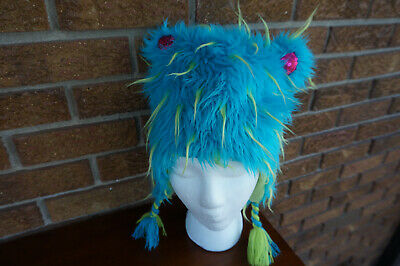 HAT Total GIRL JCP Blue Green Furry Animal Pink Ears One Size 5-10 Yrs? Peruvian