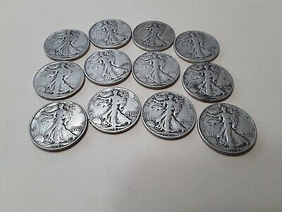 Lot Of 12 Walking Liberty half Dollars,90% Silver,$