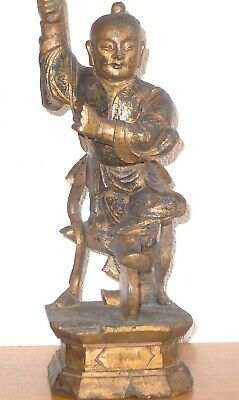 Large Chinese Polychrome Wood Carved Warrior Sculpture Qing Dynasty